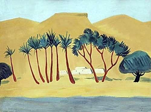 1911 Оазис в пустыне. Картон, темпера. 50х66 - Сарьян Мартирос Сергеевич