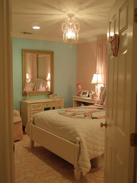 Chandelier idea for My Little Girls' Room.- like the idea of 2 diff wall colors and the pastel hues