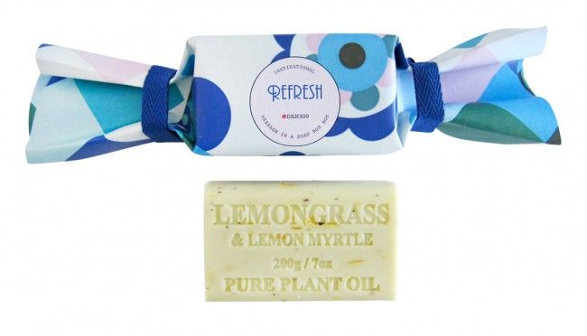 "The Refresh Bon Bon soap by Dan300 is a great gift for all occasions. It makes a great ""pick me up"" gift, thank you gift or a just because gift for a friend or family or even for yourself. Each bon bon unveils an inspirational message when unwrapped."