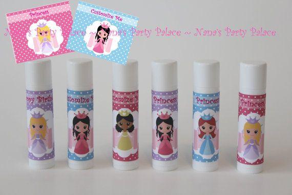 Princess Party Favors - Customized Lip Balm - Kids Lip Balm - Set of 6 - Free Customization - Lip Gloss Party Favor - Princess Theme Party on Etsy, $13.33 AUD