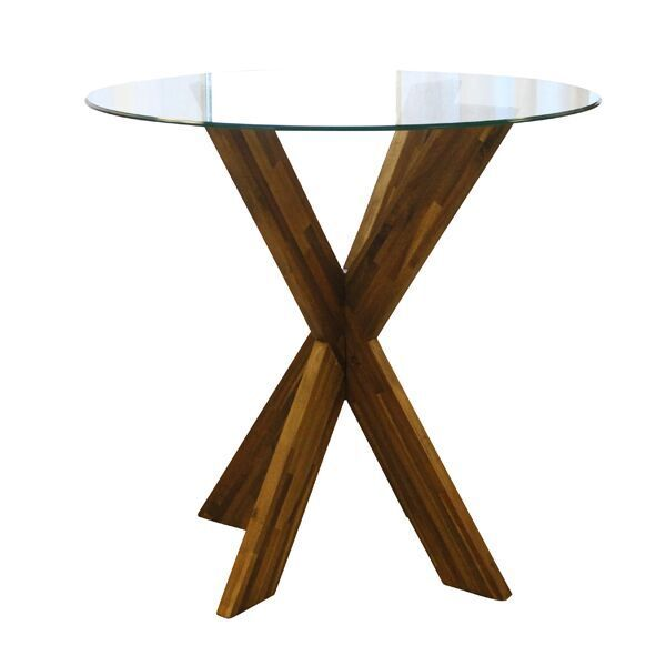 Axel High Top Table || Wooden X-base table with glass top, cocktail table height. Dimensions: 42 x 40