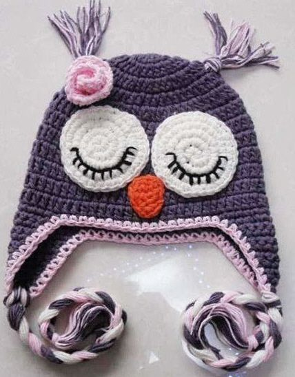 purple owl hat