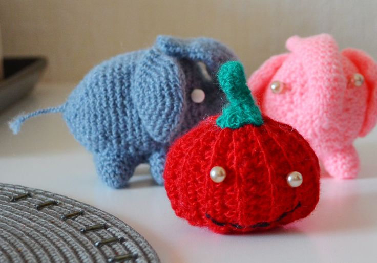 Crocheted Elephants Pumpkin soft toys handmade unique pink gray red small russian souvenirs cute animals stuffed high quality birthday gift by AnnaWeissArt on Etsy