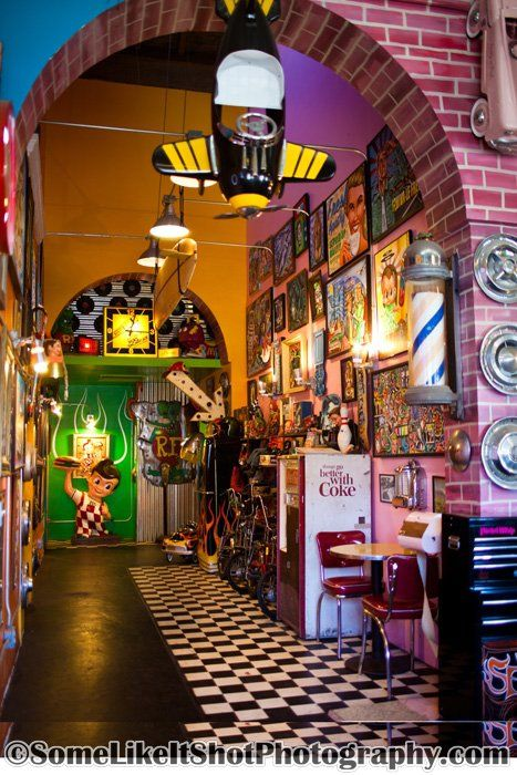 samanthazxm:    Seths Chop Shop in Ocean Beach, CA (San Diego) This shop interior is really cool and Seth is a cool guy.  Hair Salon/Tattoo Shop