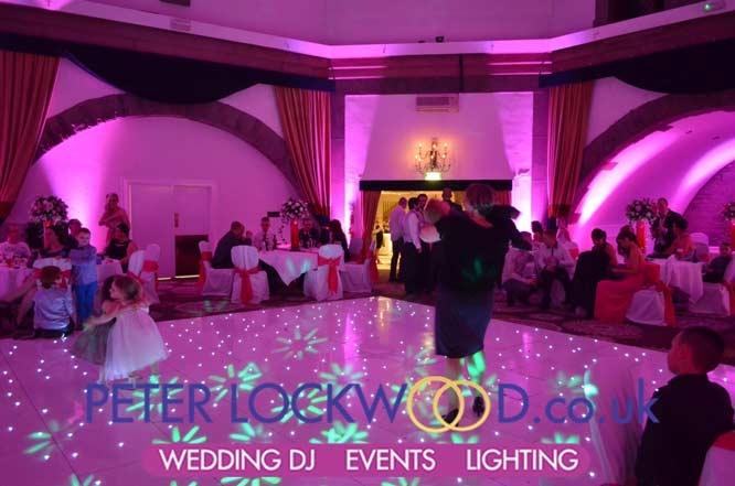 Shrigley Hall Hotel with Pink Wedding Mood Lighting