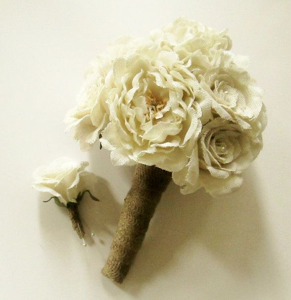 Buy Burlap Flower Wedding Bouquet, Burlap Roses, Burlap Peonies, Burlap Hydrangea, Rustic Bouquet, Keepsake Bouquet, Shabby Chic Wedding by shannonkristina. Explore more products on http://shannonkristina.etsy.com
