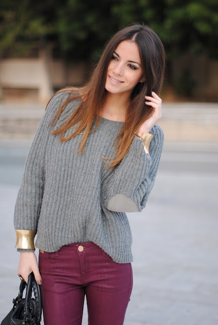 Burgundy Pants + grey knit