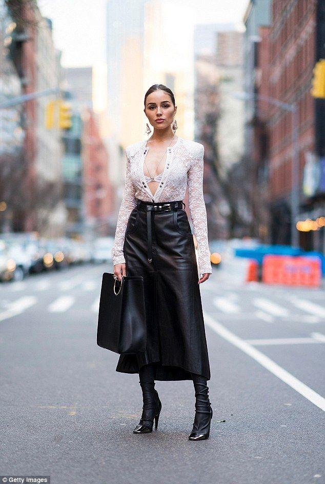 Street fashion star: Olivia Culpo wore Nina Ricci during NYFW on Thursday...