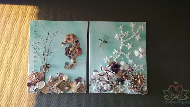 Schelpenschilderijen Bloemschilderij van schelpen met zeeleven zeepaardje. Zelf maken? Schrijf je in voor onze nieuwsbrief en ontvang stap voor stap uitleg
