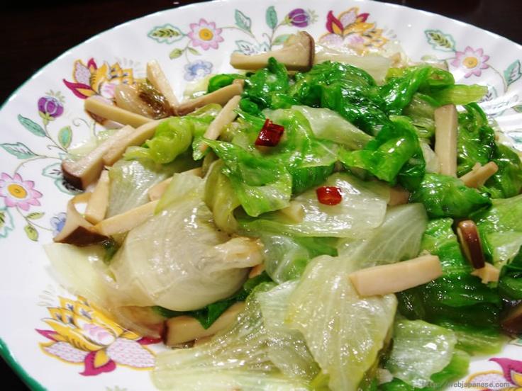 Chinese-style Stir-fried Lettuce and Eringi Mushrooms - retasu750