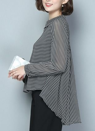 Stripe Casual Cotton Collar Long Sleeve Blouses (1049505) @ floryday.com