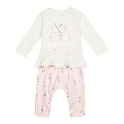 bluezoo Baby girls' cream and pink bunny top and leggings set- | Debenhams