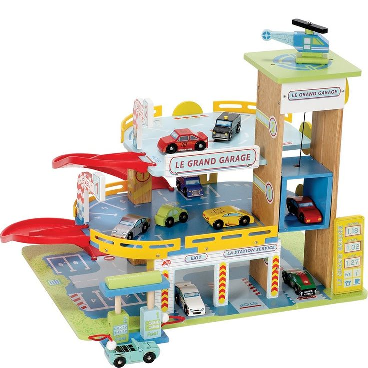 Take toy cars for a spin around this wooden garage and car park play set. It includes a lift that connects to all floors, a helipad for aerial visitors and a car and helicopter to start populating the mega-fun structure.