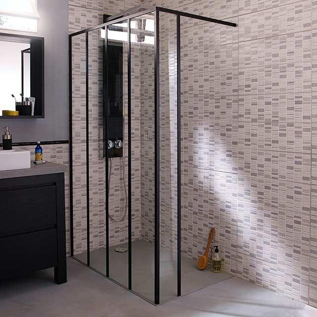 Paroi de douche fixe 120 cm + retour 20 cm noir Zenne - CASTORAMA