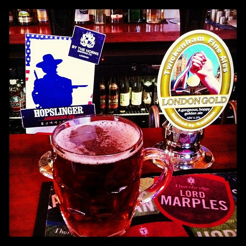 Hopslinger by the Horns Plus London Gold by Twickenham F A. both ruddy marvelous