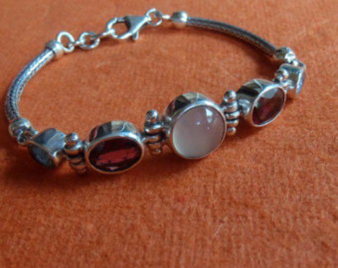 Sterling Silver Bracelet Pierre de lune grenat topaze de la chaîne balinais / a…