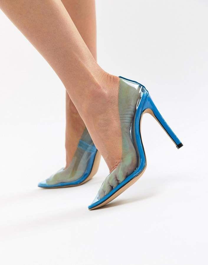 150cf45ebca Public Desire Extra transparent blue pumps