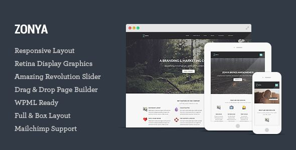 Zonya - Multipurpose Responsive WordPress Theme 65$