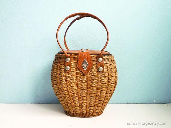 Vintage Woven Wicker & Rope Basket Bag 50s 60s Straw Purse: