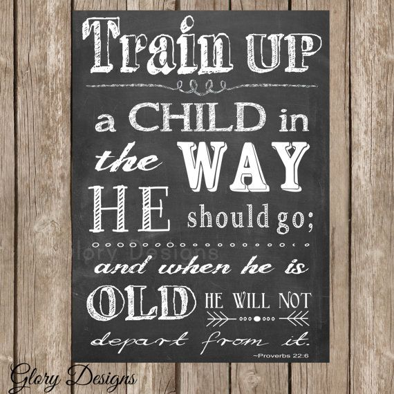 INSTANT DOWNLOAD, Scripture Art, Typography, Train up a child in the way he should go, Proverbs 22:6, Chalkboard Style