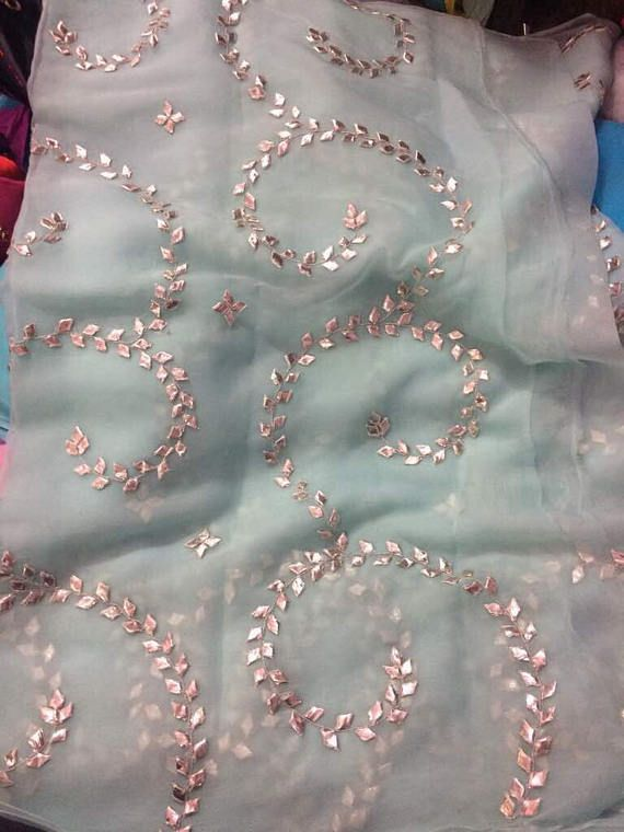 Pure Chiffon saree with beautiful gota Jaal and running blouse piece