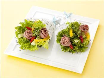 ローストビーフとスティック野菜のブーケサラダ