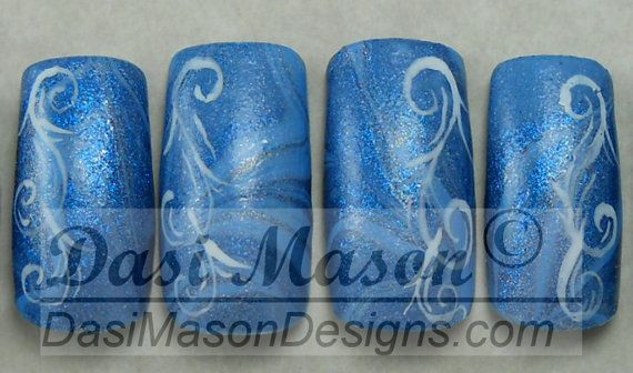Blue Swirling Mist Water Marble Instant Acrylic Nail Set on Etsy, $8.00