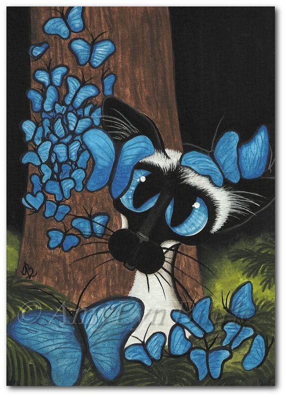 Siamese Cat  Blue Butterflies  - Art Prints & ACEOs by Bihrle ck360
