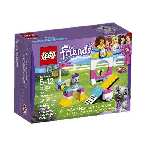 Prépare des tours d'agilité avec Sky le chiot dans l'aire de jeux du chiot LEGO® Friends, comprenant une balançoire à bascule, un obstacle avec une barre à renverser, et un grand saut dans un cerceau avec un os comme récompense ! No. 41303