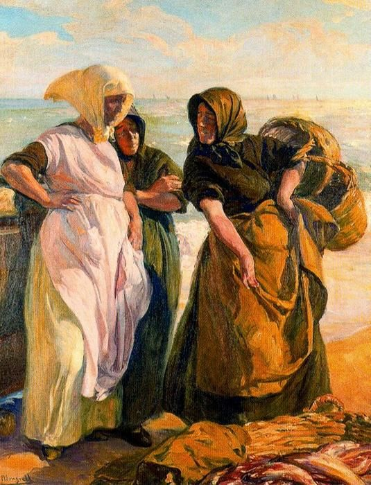 Buying Fish by José Mongrell Torrent (1870-1937, Spain)