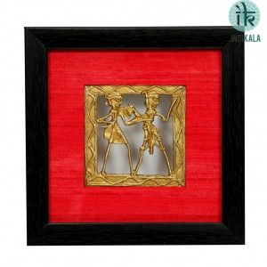 Pair of Square Shaped Dhokra Work Paintings with Red silk border