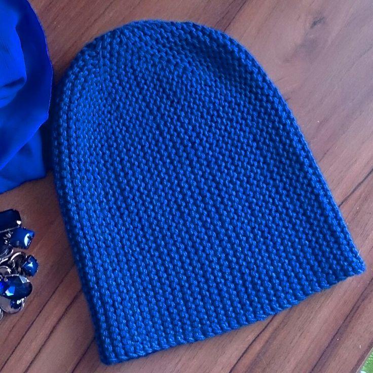 Шапочка-бини, синяя, шерсть,  1500руб, вязание на заказ