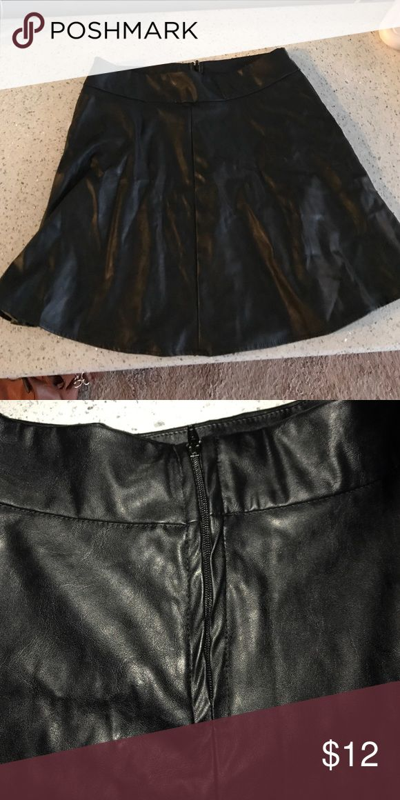 Black Leather Skater Skirt Black leather skater skirt worn once size M Charlotte Russe Skirts Circle & Skater