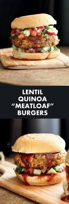 Lentil Quinoa Meatloaf Burgers. Lentil Quinoa Burger patties with bbq glaze. Easy Meatloaf Burgers. Serve as burgers with buns or as patties over a salad.
