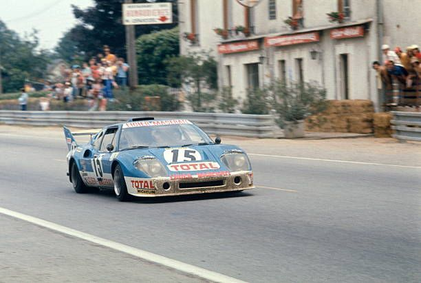 Jacques Laffite and Alain Serpaggi Ligier JS2 Maserati at Les Hunaudieres on the Mulsanne Straight, Le Mans, 16 June 1974.
