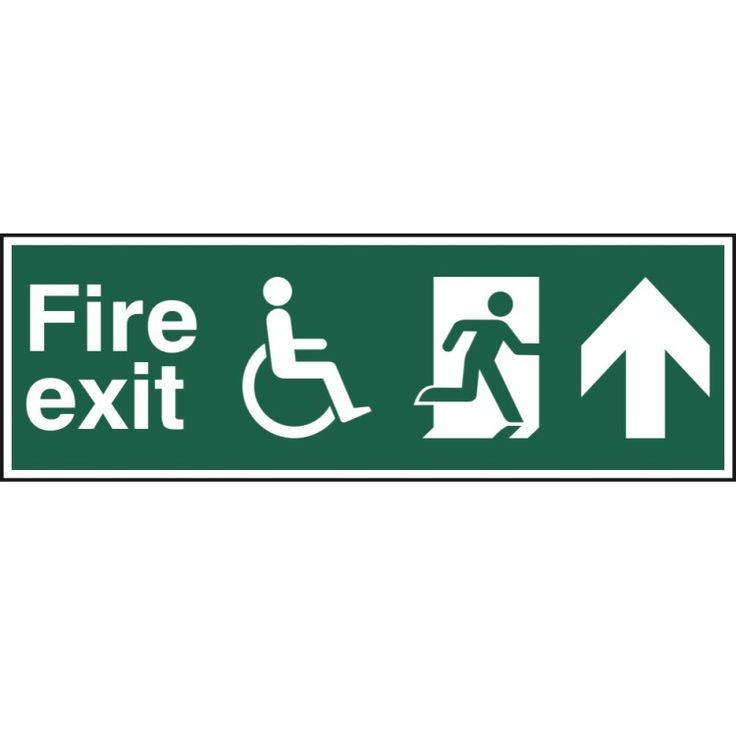 Disabled fire exit running man arrow up sign health and
