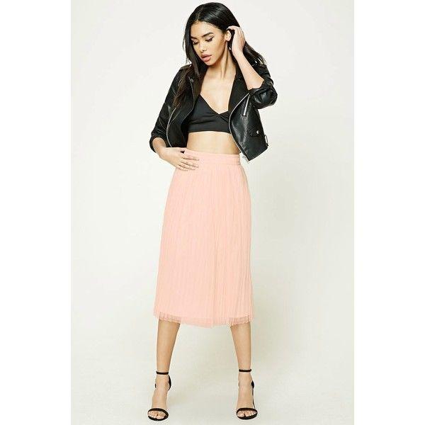 Forever21 Pleated Tulle Midi Skirt ($23) ❤ liked on Polyvore featuring skirts, blush, white sheer skirt, white knee length skirt, pleated skirt, see-through skirts and sheer skirt