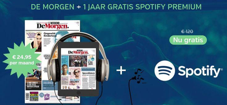 """Gratis 1 Jaar Lang Spotify Bij """"De Morgen"""" !!!  Ontvang nu bij een abonnement op """"De Morgen"""" een jaar lang gratis Spotify. Een cadeau voor elke nieuwe klant t.w.v. 120 Euro.  Meer info ==> http://gratisprijzenwinnen.be/gratis-1-jaar-spotify/  #gratis #krant #spotifi #demorgen #muziek"""