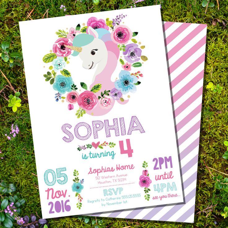 Printable Unicorn Invitation - Pinks and Gold Glitter