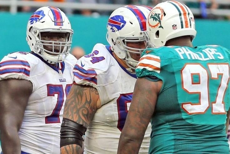 Bills vs. Dolphins:    October 23, 2016  -  28-25, Dolphins  -     Miami Dolphins Jordan Phillips confronts Buffalo Bills Richie Incognito after a scuffle in the endzone in the fourth qaurter at Hard Rock Stadium in Miami Gardens, Florida, October 23, 2016.  CHARLES TRAINOR JR ctrainor@miamiherald.com