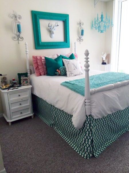 Emerald Green And Peach Apartment Room. Designer Headboard, Custom Pillows,  Exclusive Bed Scarf