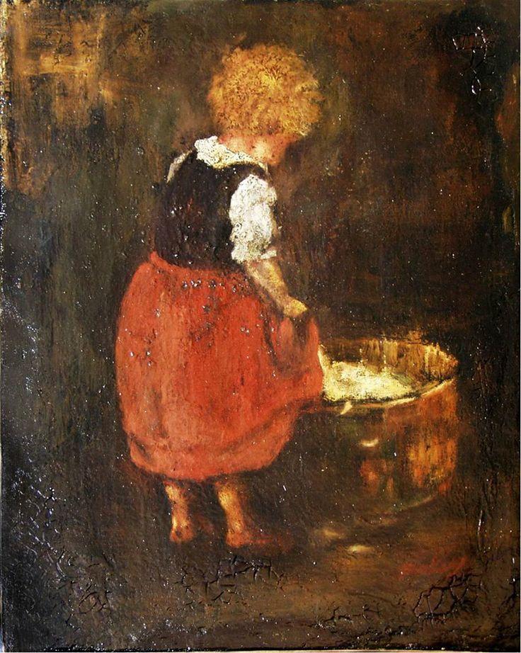 Munkácsy Mihály (1844-1900) - Kislány tanulmány a Tépéscsinálók című képéhez