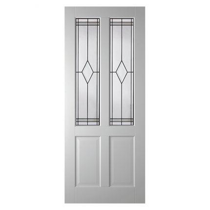 LD6542 stompe glas-/paneeldeur met glas in lood. Prachtig als binnendeur in jouw jaren 30 woning!