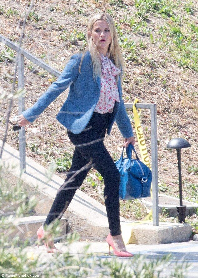 Preppy: Reese Witherspoon got back to work on Tuesday on the set of Big Little Lies in Los...