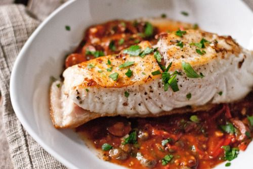 Wild Halibut a la Puttanesca - and a great little article about sustainable eating.