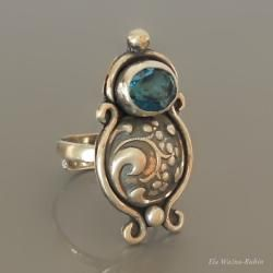 art jewelry, silver, ring, topaz london blue, hand made