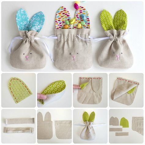 Un tutorial che mostra come cucire dei sacchetti porta ovetti in stoffa con faccino e orecchie da coniglietto. Carini da regalare pieni di ovetti ai bambini per Pasqua e che poi loro potranno riutiliz