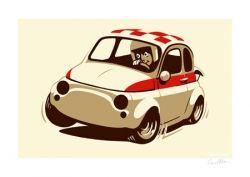 Felix Petrol Fiat 500 Abarth signed print