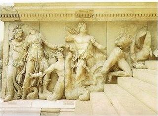 Detalle del  Altar de Zeus en Pergamo,164-156 BC,durante el reinado de Eumenes II Soter.