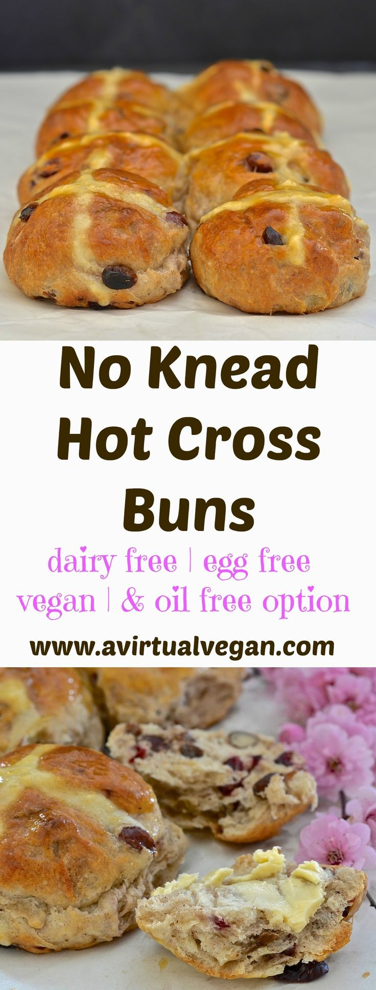 No-knead Hot Cross Buns.  Used water not milk. 1 tsp yeast. +++1/2 Not quite as good as regular ones.